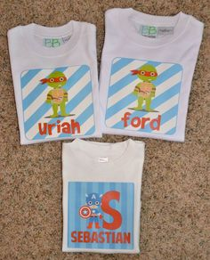 Personalized Ninja Turtles and Captain American t-shirts for kids