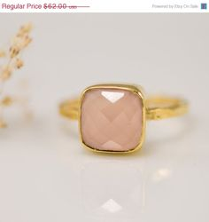 XMAS in JULY SALE - Pink Chalcedony Ring - October Birthstone Ring - Gemstone Ring - Stacking Ring - Gold Plated - Cushion Cut Ring on Etsy, $55.80