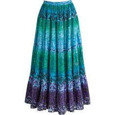 0474137b3c Seaglass Skirt - XL Maxi Skirt Boho, Peasant Skirt, Green Stripes, Blue  Green