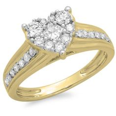 Thanks for Sharing!  0.70 Carat (ctw) 18K Yellow Gold Princess & Round Diamond Ladies Bridal Heart Shaped Promise Engagement Ring 3/4 CT - Dazzling Rock #https://www.pinterest.com/dazzlingrock/