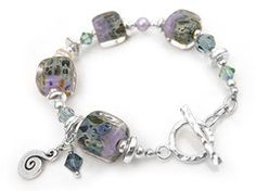 Lampwork Glass Bracelet - Love in a Mist Ceramic Beads, Bracelet Designs, Lampwork Beads, Glass Jewelry, Sterling Silver Jewelry, Swarovski Crystals, Handmade Jewelry, Pearls, Purple