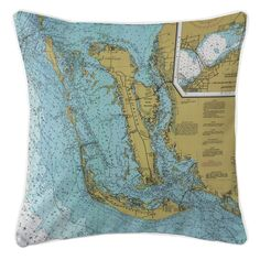 FL: Sanibel Island & Pine Island, FL Nautical Chart Pillow