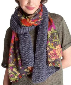 Take a look at this Slate Knit Floral Scarf on zulily today! The Sak and Sakroots Diy Knitting Scarf, Knit Cowl, Crochet Scarves, Knitting Patterns, Crocheted Scarf, Knit Or Crochet, Crochet Shawl, Cozy Scarf, Floral Scarf