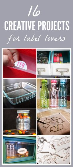 16 Creative Projects for Label Lovers!  Prepare for an inspiration fest that may send you running to your pantry to reorganize and label out the wazoo!   The Thinking Closet for Just a Girl and Her Blog
