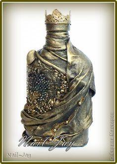 Декор предметов Бутылка Бусины Бутылки стеклянные Материал природный Ткань фото 1