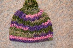 Crochet Bulky Pom Pom Beanie, Winter Hat, Ski Cap, Snow Beanie 6 years to adult by FuzzyStitchesbyShann on Etsy