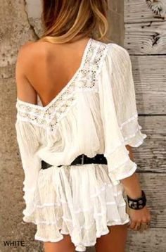 ☯☮ॐ American Hippie Bohemian Style ~ Boho off shoulder top! Cute