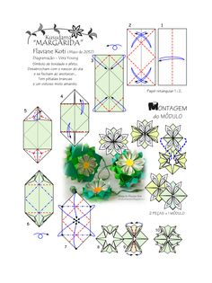 Diagrama do Kusudama MARGARIDA - Flaviane Koti - pg 01