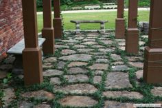 Pavers and mondo grass-- perfect for under the deck