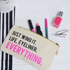 Your life motto... This slogan make up bag is great for storing make up and accessories.