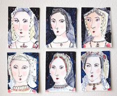 Six Wives of Henry VIII Tiny Art Set Hand painted Miniature Portrait British English Royalty Queens Tudor Anne Boleyn History Watercolor Wives Of Henry Viii, King Henry Viii, Anne Of Cleves, Anne Boleyn, Historical Women, Historical Photos, Asian History, British History, Strange History