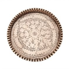 Copper large round tray with floral motifs hand carved 54 cm in diameter  (Price excludes VAT)
