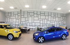 Dilawri Motors Kia dealership had a giant wall that required something unique. This line design was decided upon to keep it somewhat simple yet interesting as well. Hand painted by Mural Magic in Ottawa. With a lot of tape! Mural Painting, Line Design, Ottawa, Murals, Motors, Tape, Hand Painted, Magic, Business