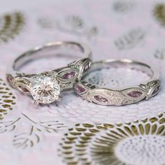 "Kirk Kara 18K White Gold ""Dahlia"" Marquise Shaped Pink Sapphire Diamond Engagement Ring"