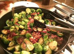 Chrissy Teigens Garlic maple bacon brussel sprouts.  OMG. Made them camping tonight!!!  Thanks Chrissy Teigan!!!