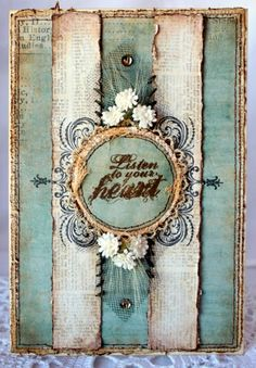 Nice - mint & ivory & shabby. What's not to love? Would make a great art journal cover.