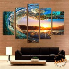5 Panel Sea Wave Painting Sunset Seascape Painting for Living Room Modern Home Decor Wall Art Canvas Prints Unframed