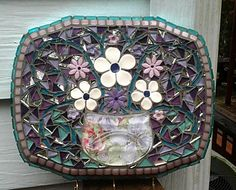 Mosaic Tile Key Holder/ Wall Hanging....Shades of Purple