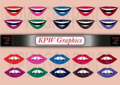 2 types of 10 various coloured female lips for by KPWgraphics