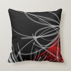 Black White Gray & Red Abstract Design Throw Pillow - tap/click to get yours right now! #ThrowPillow #black #white #gray #red #and Modern Throw Pillows, Decorative Throw Pillows, Black Pillows, Accent Pillows, Personalized Pillows, Custom Pillows, Geometric Throws, Modern Color Palette, Quatrefoil Pattern