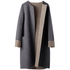 Soft Wool Cashmere Coat ❤ liked on Polyvore featuring outerwear, coats, grey, jackets, pure cashmere coat, a-line coat, gray coat, reversible wool coat and lightweight coat