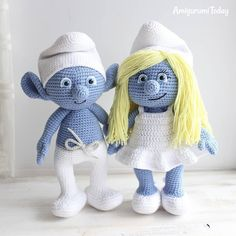Smurf and Smurfette - patterns by Amigurumi Today