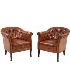 Ordinaire Pair Of Swedish Leather Club Chairs