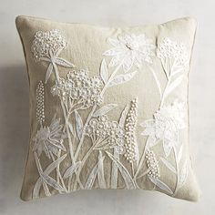 Plant some wildflowers in your home with our nature-inspired throw pillow that features a cotton cover and floral applique. Cushion Embroidery, Applique Cushions, Hand Embroidery Art, Embroidered Cushions, White Embroidery, Embroidery Applique, Embroidery Stitches, Embroidery Patterns, Bedding Inspiration