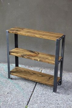"""------DESCRIPTION------ Our made-to-order """"Americana Series"""" bookcases are solidly constructed of recycled steel and reclaimed wood. The highest-quality re-purposed materials are selected in crafting all our bookcases, and come from a variety of previous Welded Furniture, Industrial Design Furniture, Steel Furniture, Pallet Furniture, Furniture Design, Reclaimed Wood Bookcase, Wood Shelving Units, Woodworking Furniture Plans, Woodworking School"""