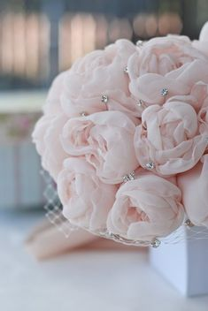 """STUNNING hand made bridal bouquet blush """"peonies"""" with crystal accents, medium 9 inch diameter by on Etsy Vintage Bridal Bouquet, Bridal Bouquet Fall, White Wedding Bouquets, Bride Bouquets, Rose Wedding, Bridesmaid Bouquet, Wedding Flowers, April Wedding, Blush Peonies"""