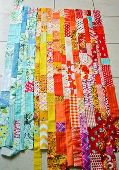 Scrappy strip quilt idea