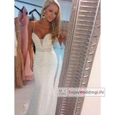 Wholesale Prom Dresses - Buy 2015 Sexy New Spaghetti Straps Sequins Mermaid Prom Dresses Lace Top Beaded Crystals Waistband Floor Length Evening Gowns, $131.22 | DHgate