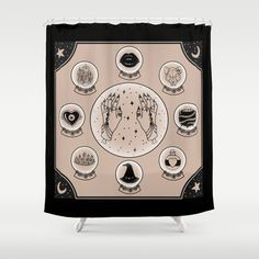 Witch Accessories shower curtain: $68 This design is also available as a pillow, print, mug, and much more on my Society 6 webstore, please check it out! #fashion #tote #bag #purse #accessories #pillow #design #interiordesign #decoration #decorating #bedroom #interior #inspiration #home #bed #bedding #duvet #bedspread #skull #skulls #ghost #creepy #edgy #grunge #white #illustration #society6 #print #witch #wiccan #atronomy #crystal ball #shower #curtain #shower curtain #bath #bathroom