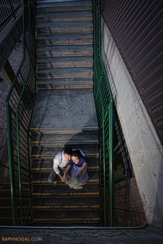 Couple on stairs - downtown Toronto engagement photos