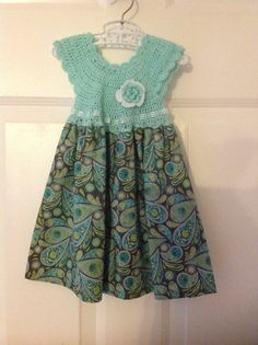 SALE -- Crochet and Fabric Dress - Size 6-9 Months on Etsy, $15.00