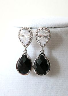 Daisia Silver Teardrop Crystal Earrings