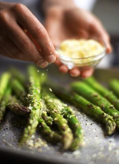 Asparagus with lemon and parmesan cheese... a favorite summer dish