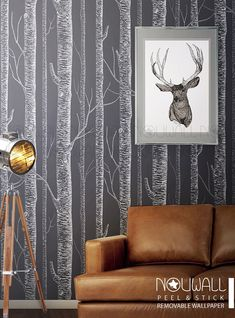 Items similar to White Birch Tree On Dark Grey Background Peel & Stick Wallpaper - wall decal - wall sticker on Etsy Tree Wallpaper Painting, Tree Wallpaper Living Room, Peel N Stick Wallpaper, Birch Tree Wallpaper, Wall Wallpaper, Dark Grey Wallpaper, Diy Painting, Wallpaper Patterns, Bathroom Wallpaper