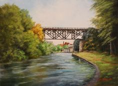 Judy Bradley Original Oil Landscape Painting Erie Canal Railroad Bridge New York #Realism