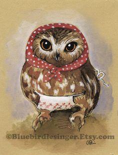 Matryoshka Owl Lady Print 5x7 by BluebirdieBootique on Etsy, $10.00