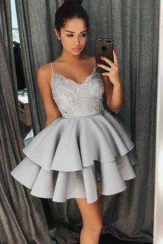 Prom Dress Beautiful, A-Line Spaghetti Straps Grey Satin Homecoming Dress with Lace Beading, Discover your dream prom dress. Our collection features affordable prom dresses, chiffon prom gowns, sexy formal gowns and more. Find your 2020 prom dress Lace Homecoming Dresses, Hoco Dresses, Lace Evening Dresses, Event Dresses, Sexy Dresses, Formal Dresses, Dress Lace, Dress Prom, Occasion Dresses