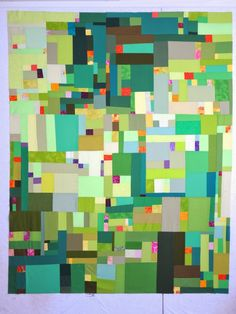 """Greens """"Mountain Meadows"""" Quilt Top by Cheryl Arkison of Dining Room Empire."""
