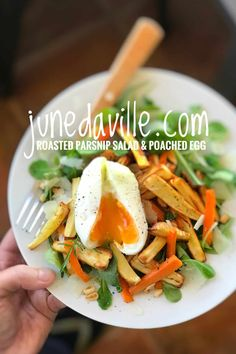 My roasted carrot and parsnip salad with a creamy poached eggs on top garnished with pine nuts and shaved parmesan cheese. the perfect winter salad! Vegetarian Recipes Easy, Veggie Recipes, Salad Recipes, Cooking Recipes, Healthy Recipes, Side Dishes Easy, Side Dish Recipes, Dinner Recipes, Dinner Ideas