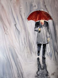 Red Umbrella Painting - Red Umbrella Fine Art Print