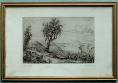 Hans Lang 1948 Schwäbische Alb, Original-Radierung signiert