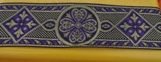 "Beautiful Purple & Gold Medieval Jacquard Ribbon Trim - 2.25"" Wide - 4 yds"