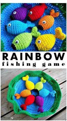 Crochet Toys For Boys Stylish and Easy Free Crochet Rainbow Fishing Game Pattern Crochet Game, Cute Crochet, Crochet For Kids, Crochet Crafts, Crochet Toys, Crochet Projects, Diy Crafts, Crochet Fish Patterns, Crochet Patterns Amigurumi
