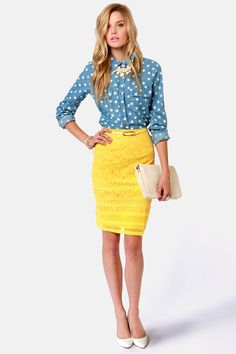 Pretty Yellow Lace Pencil Skirt, Polka Dot Denim, Yellow Accent Necklace