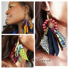 Ankara, African, Tribal, Boho fabric Earrings @eturnercouture - eturnercouture.etsy.com -> https://www.etsy.com/listing/216190060/african-fabric-earrings-ooak-earrings?ref=shop_home_feat_3