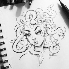 Lil medusa sketch 🐍 I've been super busy getting back into school. Tuesday's and Wednesdays I have class for 12 hours straight 😅 welcome to art college! Drawing Sketches, Cool Drawings, Sketch Art, Sketching, Sketch Ideas, Medusa Art, Medusa Drawing, Medusa Painting, Snake Drawing